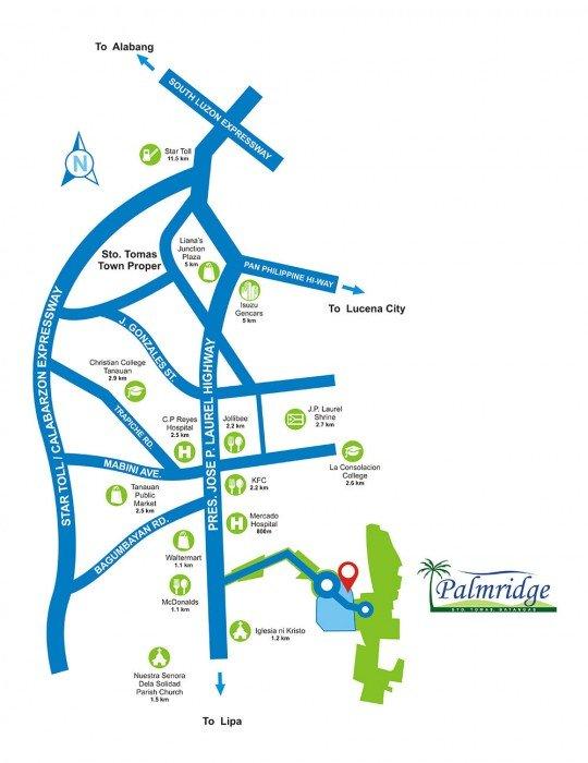 Location Map - Palmridge - Sto. Tomas - Batangas - Futura Homes by Filinvest