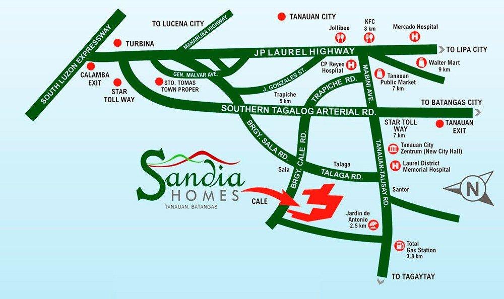 LocationMap-SandiaHomes-TanauanBatangas-FuturaByFilinvest